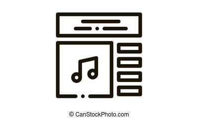 Internet Music Play List Icon Animation. black Internet Music Play List animated icon on white background