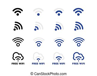 Internet network free Wifi connection icon set