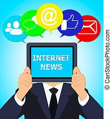 Internet News Means Online Info 3d Illustration