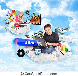 internet, nube, gente, con, iconos de tecnología