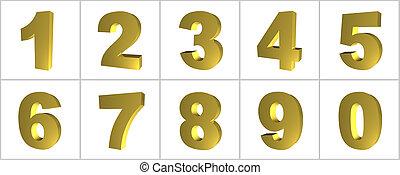 internet, numrerar, guld, ikon