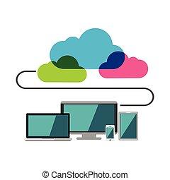 internet., nuvola, computing., collegare