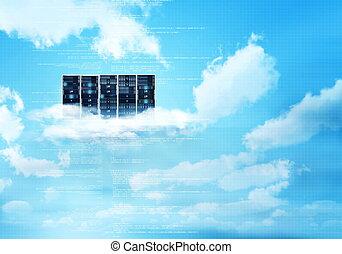 internet, nuvola, server