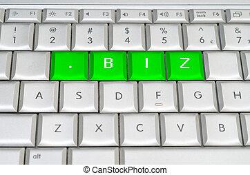 internet, oberseite, wasserwaage, domäne, .biz, spelled, auf, metallisch, tastatur