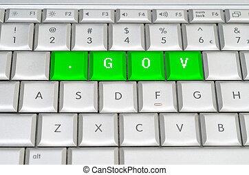 internet, oberseite, wasserwaage, domäne, .gov, spelled, auf, metallisch, tastatur
