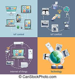Internet of things 4 flat icons - Internet of things iot...