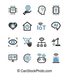 Internet of things and Artificial intelligence icons. Robot and Industrial technology concept. Glyph and outlines stroke. Sign and Symbol theme. Vector illustration graphic design collection set