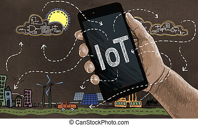 Internet of Things Concept in Classic Drawing Style