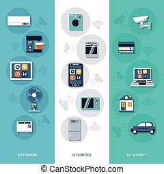 Internet of things flat banners set