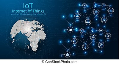 (IOT), devices and connectivity concepts on a network, cloud at center. digital circuit board above the planet Earth.