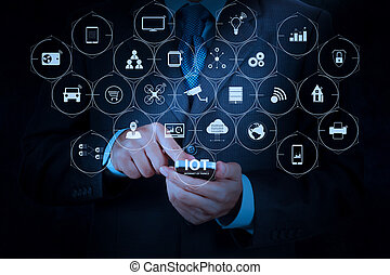 Internet of Things (IOT) technology with AR (Augmented Reality) on VR dashboard. businessman hand using mobile smart phone