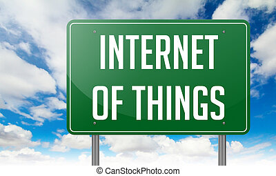 Internet of Things Highway Signpost with wording on Sky Background.