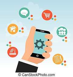 Internet of things. Online icon. Flat illustration , vector