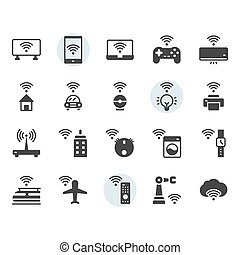 Internet of things related icon and symbol set in glyph design