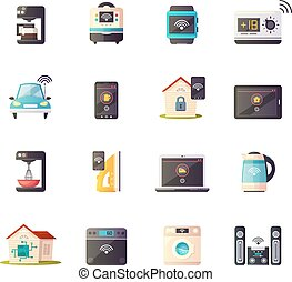 Internet Of Things Retro Icons Set