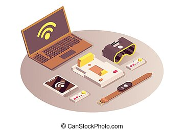 Internet of things vector isometric illustration. Cloud computing service, wifi wireless connection, telecommunication system. IoT, modern portable devices and digital technologies isolated 3d