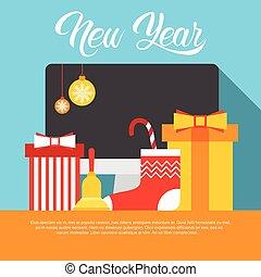internet, omsætning, dekoration, computer, år, nye, dekorer, jul, glade