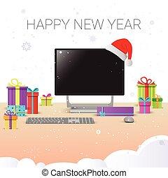 internet, omsætning, dekoration, computer, arbejdspladsen, år, nye, dekorer, jul, glade