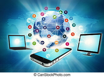 Internet on Gadget - Smart Phone, lapop and computer with...
