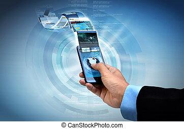 Internet on smart phone Concept - Businessman browsing...