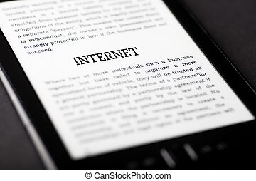 Internet on tablet touchpad, ebook concept
