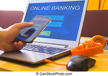 Internet online banking payment concept.