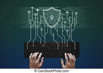 Internet, online network, social networking and online application security system. Hand typing on computer keyboard with social media application and shielding icons