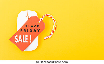 Internet online shopping marketing, Promotion Black Friday sale text on red tag label and white mouse