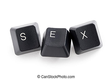 internet or cyber sex - three computer keys spelling the ...
