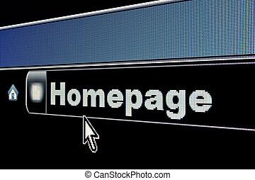 internet, página principal, concepto