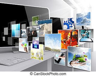 internet, płynący, wizerunki