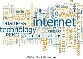 internet, palavra, nuvem