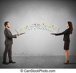 internet, partage, concept