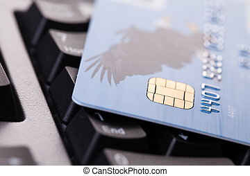 internet payment - photo shot of credit card on computer...