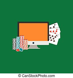 Internet poker illustration. Monitor, cards and poker chips. Online gambling icon.