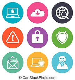 Internet privacy icons. Cyber crime signs.