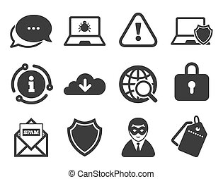 Internet privacy icons. Cyber crime signs. Vector