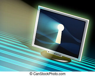 Keyhole in a monitor: online privacy concept. Hand painted illustration.