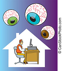 Internet Privacy - Man being watched while on the computer.