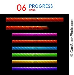 Internet prograss bar elements set, web page load interface designs. Download concepts