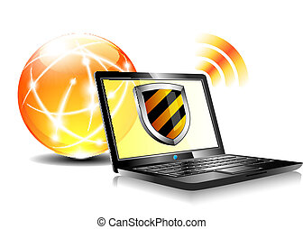 Computer antivirus security protection, firewall digital shield concept