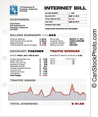 Internet Provider ISP Expenses Bill Document Template Layout...