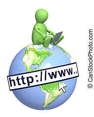Internet - Puppet with laptop on Earth. Isolated over white