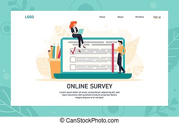 Internet questionnaire web banner, homepage design with business concept. Character filling online survey form on huge laptop screen. Flat vector illustration