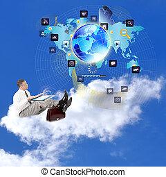 internet., réseau, e-affaires