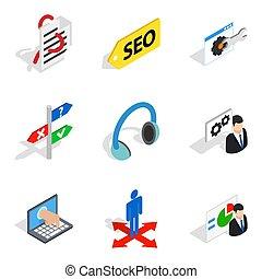 Internet reality icons set, isometric style - Internet...
