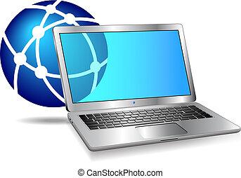 internet, rede, ícone computador