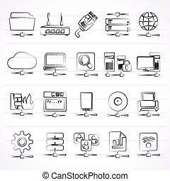 internet, rede, ícones