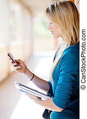 internet, ringa, högskola studerande, bläddra, användande, smart