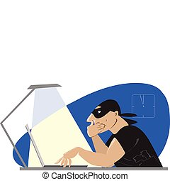 Internet robber - Vector cartoon of a robber searching ...